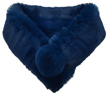 Petrol Blue Faux Fur Pom Pom Collar