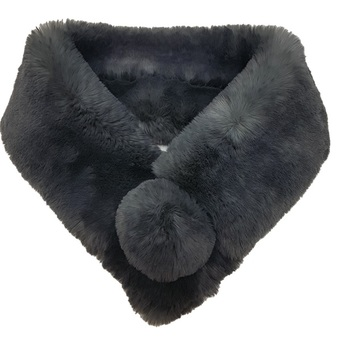 Slate Grey Faux Fur Pom Pom Collar
