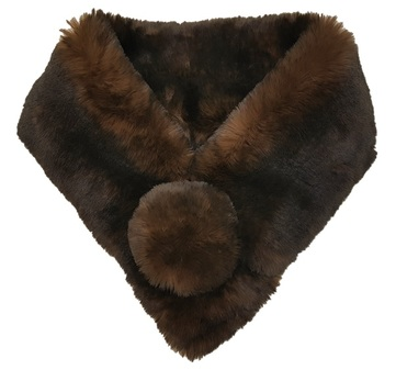 Brown Sotfee Faux Fur Pom Pom Collar