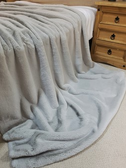 Silver Softee Faux Fur Throws