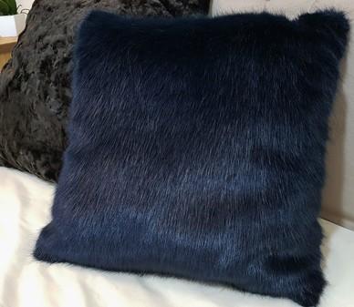 Midnight Navy Blue Faux Fur Cushions