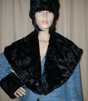Black Astra Faux Fur Shawl Collar