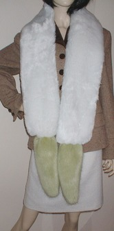 Pistachio and Snow White Faux Fur Boa Scarf