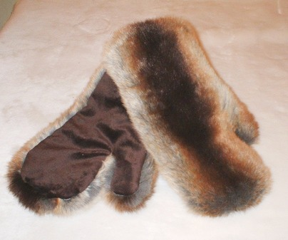 Golden Brown Chinchilla Faux Fur Mittens