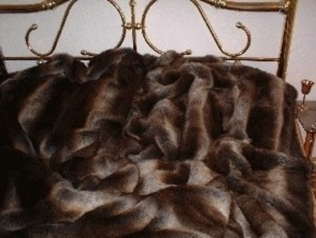 SALE Tissavel Italian Wolf Faux Fur Throw with Chocolate Satin