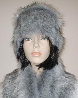 Silver Musquash Faux Fur Hat