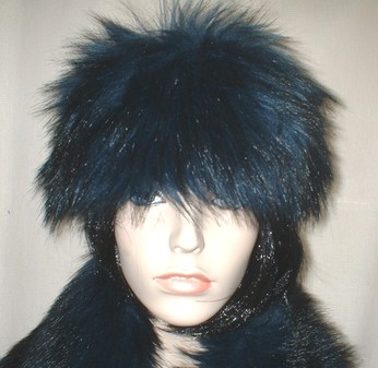 Midnight Blue Faux Fur Headband