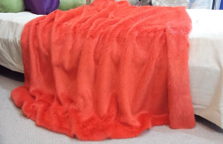 SALE Coral Faux Fur Throw with Cream Velboa