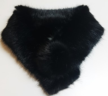 Black Mink Faux Fur Pom Pom Collar