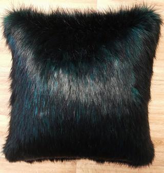 Emerald Black Faux Fur Cushions