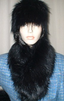 Black Bear Faux Fur Neck Scarf