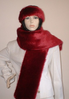 Ruby Red Faux Fur Scarf