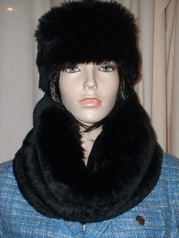 Black Mink Faux Fur Cowl/Neck Warmer