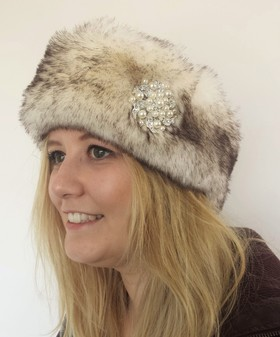 Polar Fox Faux Fur Headband with Diamante Brooch