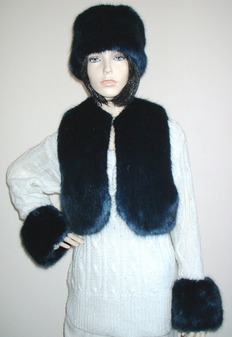 Midnight Navy Blue Faux Fur Cuffs