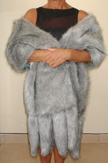 Silver Musquash Faux Fur Tails Stole