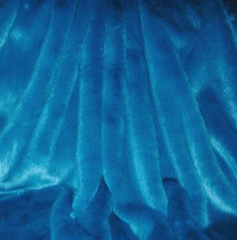 Azure Blue Faux Fur Round Cushion