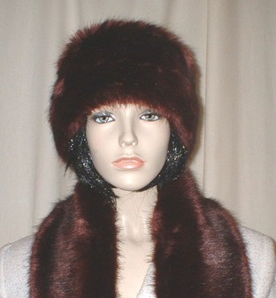 Burgundy Mink Faux Fur Headband