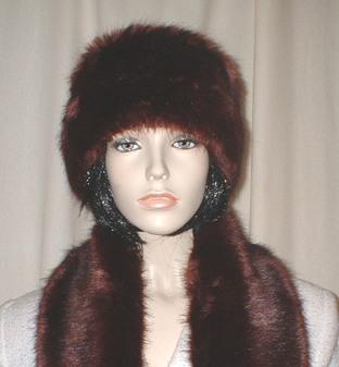 Burgundy Mink Faux Fur Headband