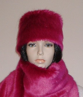 Hot Pink Mink Faux Fur Hat