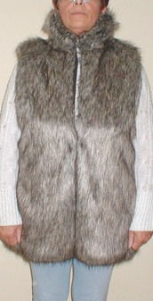 Timber Wolf Faux Fur Long Gilets