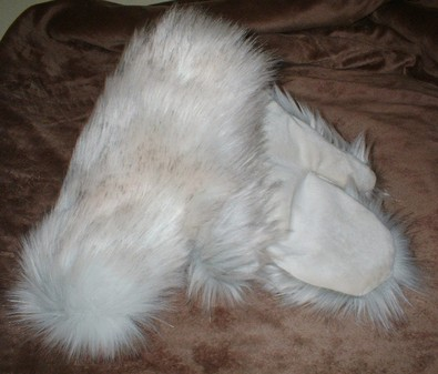 Snow Wolf Faux Fur Mittens