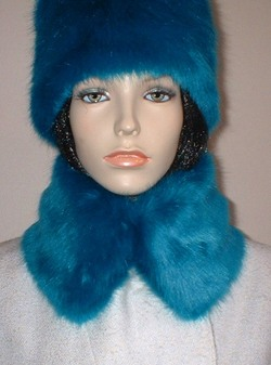 Azure Blue Faux Fur Short Collar