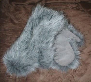 Silver Musquash Faux Fur Mittens