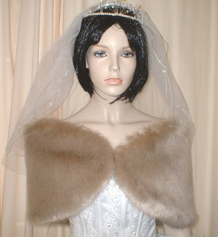 Honey Blonde Faux Fur Wedding Wrap