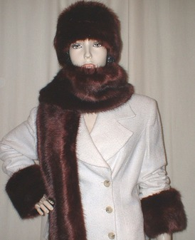 Burgundy Mink Faux Fur Cuffs