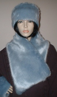Powder Blue Faux Fur Asymmetric Scarf
