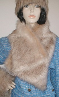 Fawn Musquash Faux Fur Asymmetric Scarf
