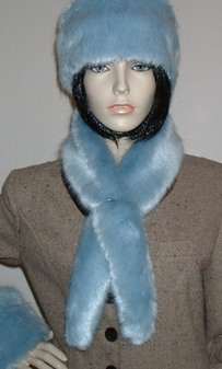Powder Blue Faux Fur Slim Collar/Headband