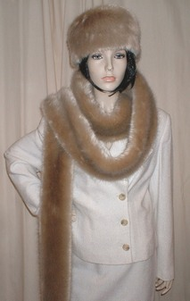 Honey Blonde Faux Fur Super Long Scarf