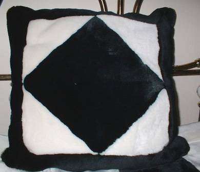 Black Diamond Faux Fur Patchwork Cushion