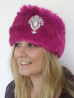 Hot Pink Mink Faux Fur Headband with Diamante Brooch