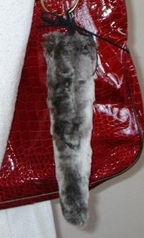 Vintage Silver Astra Faux Fur Tail Handbag Key Charm