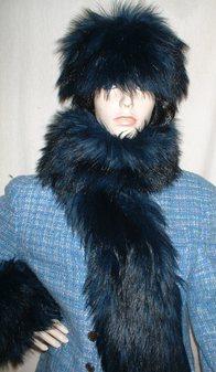 Midnight Blue Faux Fur Scarf