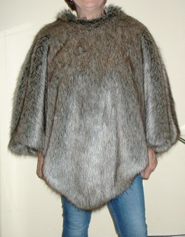 Timber Wolf Faux Fur Poncho