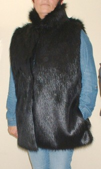 Black Bear Faux Fur Long Gilet