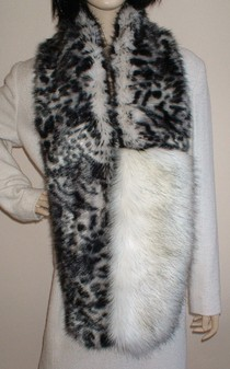 Panther and Alaska Faux Fur Two Tone Scarf