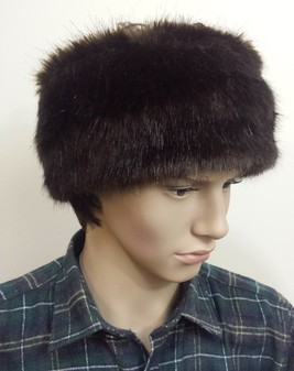 Mens Mahogany Mink Faux Fur Headband