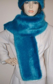 Azure Blue Faux Fur Scarf