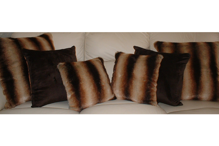 Golden Brown Chinchilla Faux Fur Cushion 20 x 20 inches