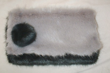 Charcoal & Silver Mink Faux Fur Clutch Bag