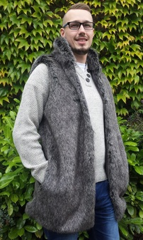 Mens Wolfhound Faux Fur Gilet