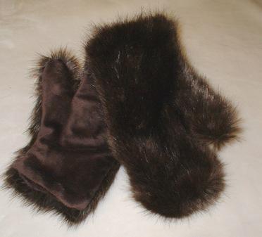 Mahogany Mink Faux Fur Mittens