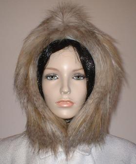 Desert Coyote Faux Fur Hood