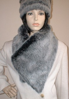 Arctic Wolf Faux Fur Asymmetric Scarf