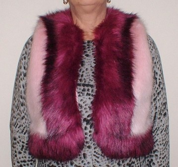 Raspberry Cream and Magenta Faux Fur Body Warmer